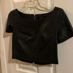 Olivaceous Black Faux Leather Crop Top